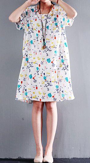 b01a907992df White cotton floral print sundress short sleeve summer shift dress ...