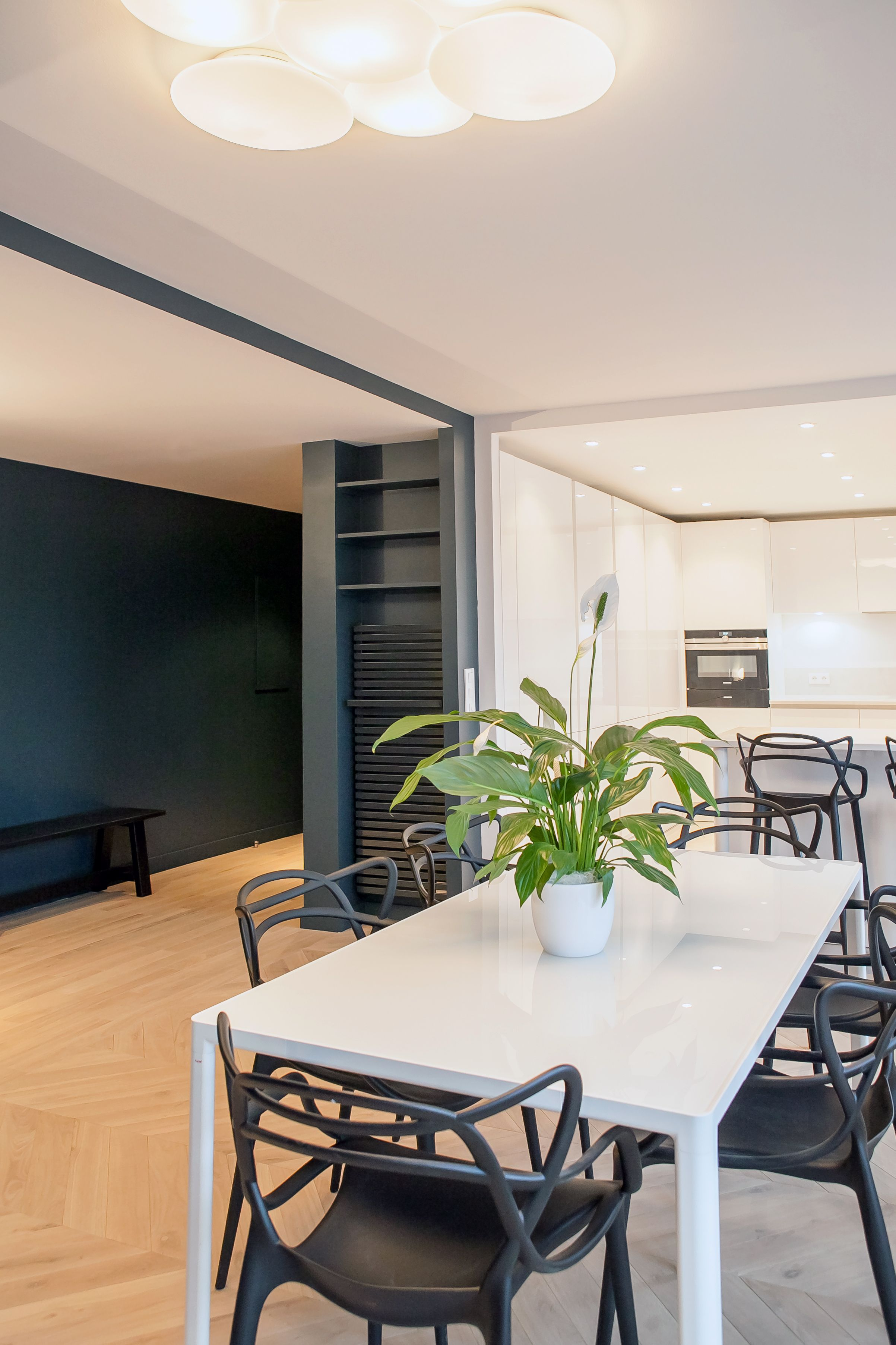 plan de travail, cuisine ouverte, salle à manger, bois laqué ...