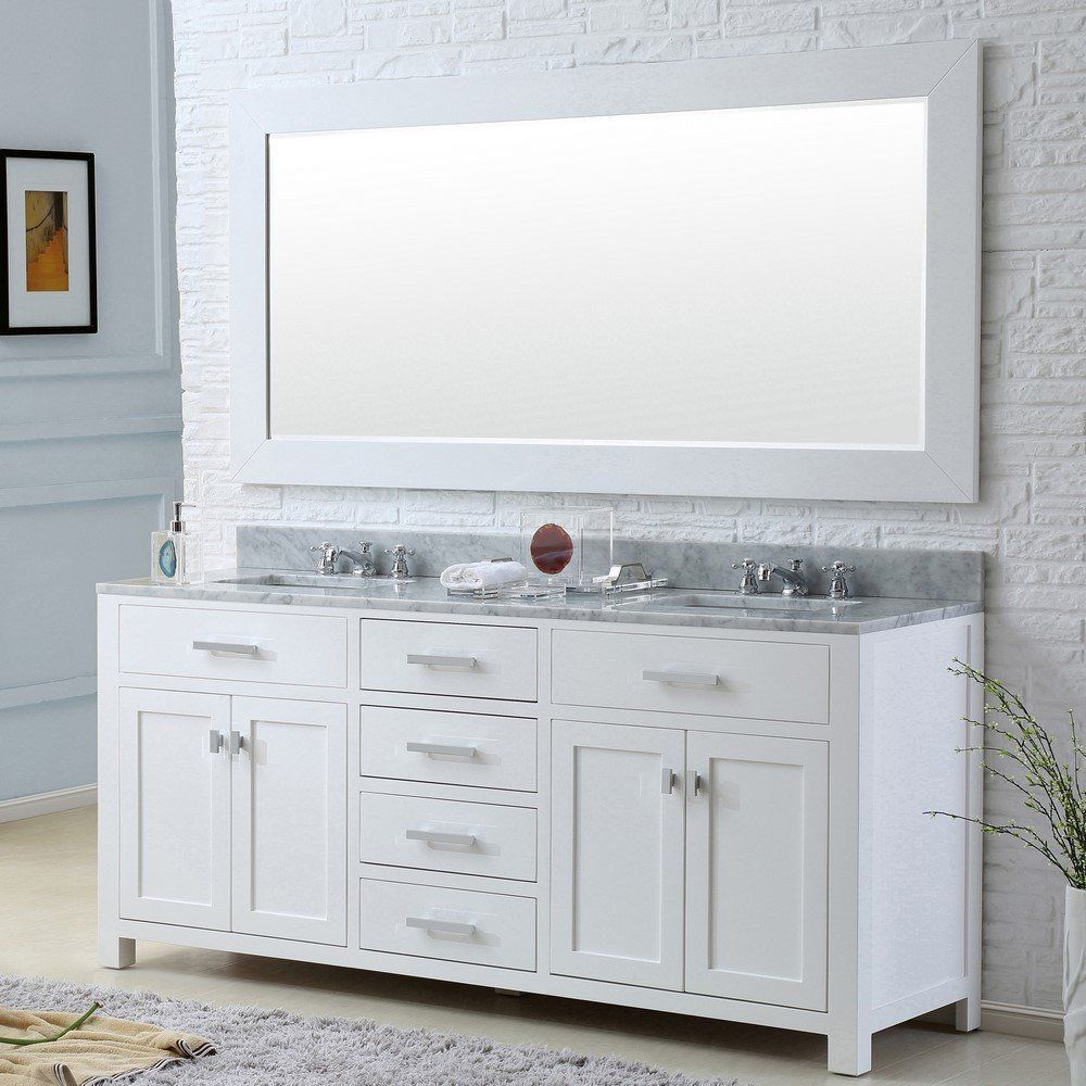 "Madison 72"" Solid White Double Sink Bathroom Vanity Only  Double Cool 72 Inch Bathroom Vanity Double Sink Inspiration"