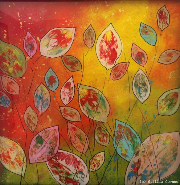 Cherry Leaves By Ottilia Cormos Glass Painting Beautiful Art Painting