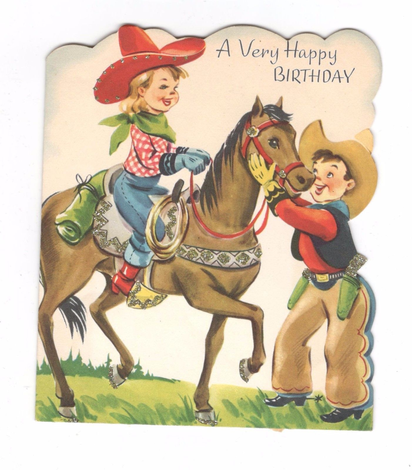 Vintage Birthday Greeting Card Glitter Children Cowgirl Cowboy