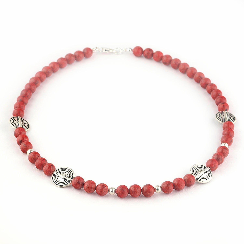 señoras o para hombre cuentas de piedras preciosas naturales Pulsera de Coral Rosa en Plata Esterlina