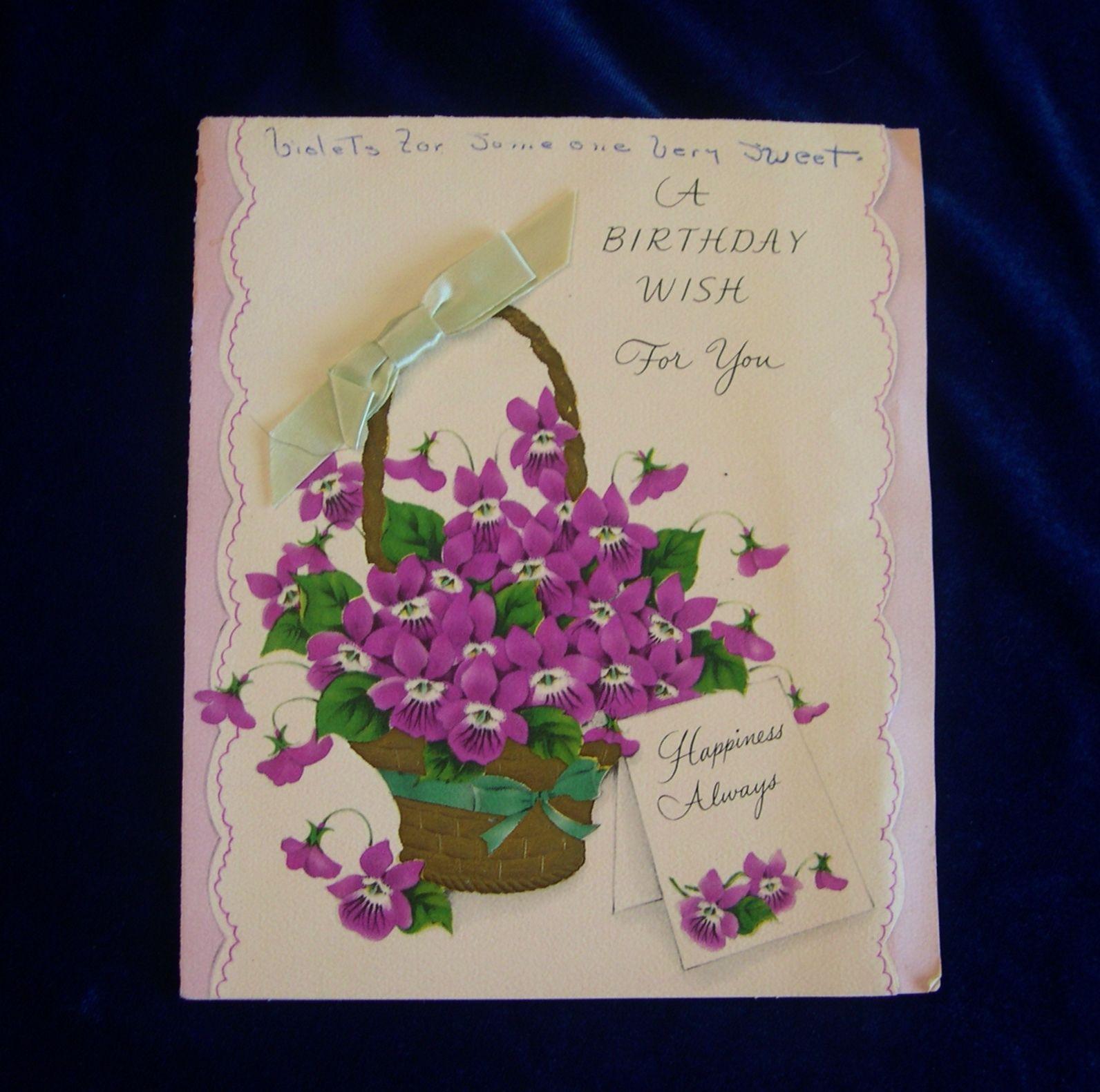 1940s American Greetings Birthday Card Beautiful Violets Vintage