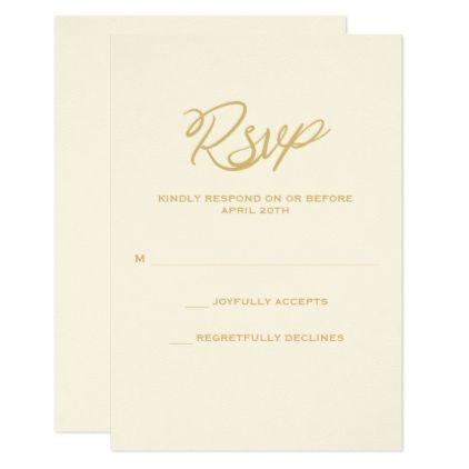 Gold We Do Script Wedding RSVP Card - rsvp gifts card cards diy unique special