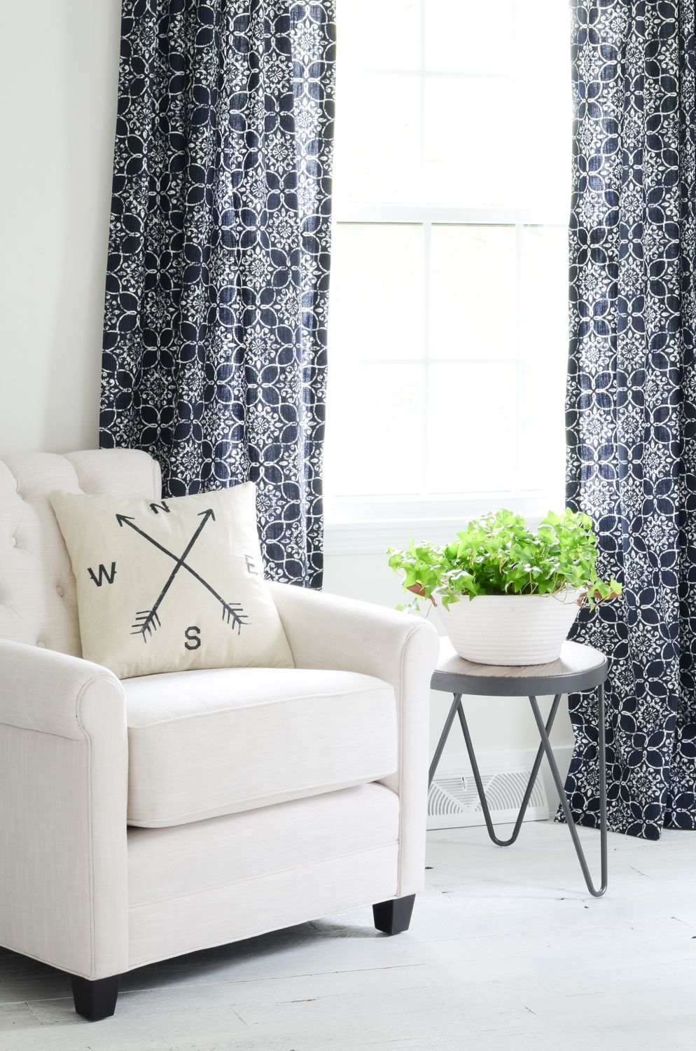 Navy Blue Curtains And New Chair For My Office Beneath My Heart Blue Curtains Living Room Living Room Decor Curtains Navy Blue Curtains