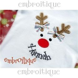 Reindeer Face Applique - 5 Sizes! | Christmas | Machine Embroidery Designs | SWAKembroidery.com Embroitique