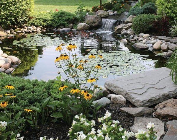wassergarten teich-anlegen tipps-wasserfall gartengestaltung, Gartenarbeit ideen