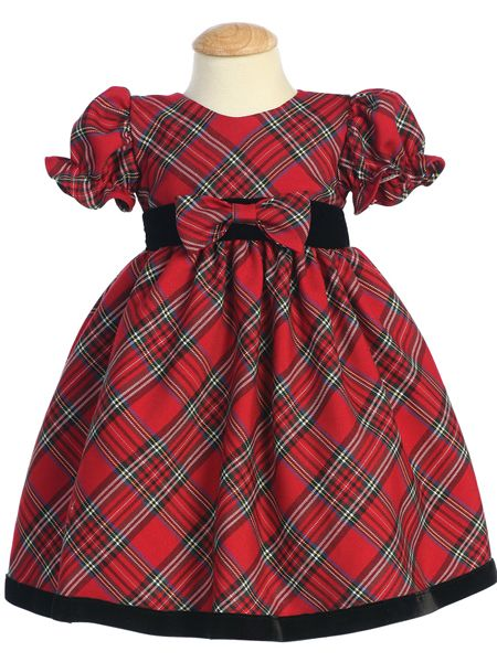 2d6b22f43 Baby or Toddler Girls Christmas Holiday Dress - Red Plaid with Velvet