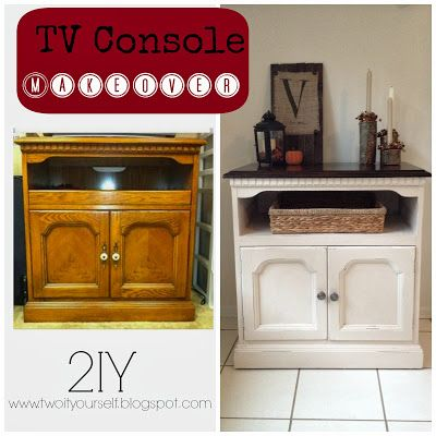 tv console makeover with stained top and painted bottom diy furnitureflip furnituremakeovers