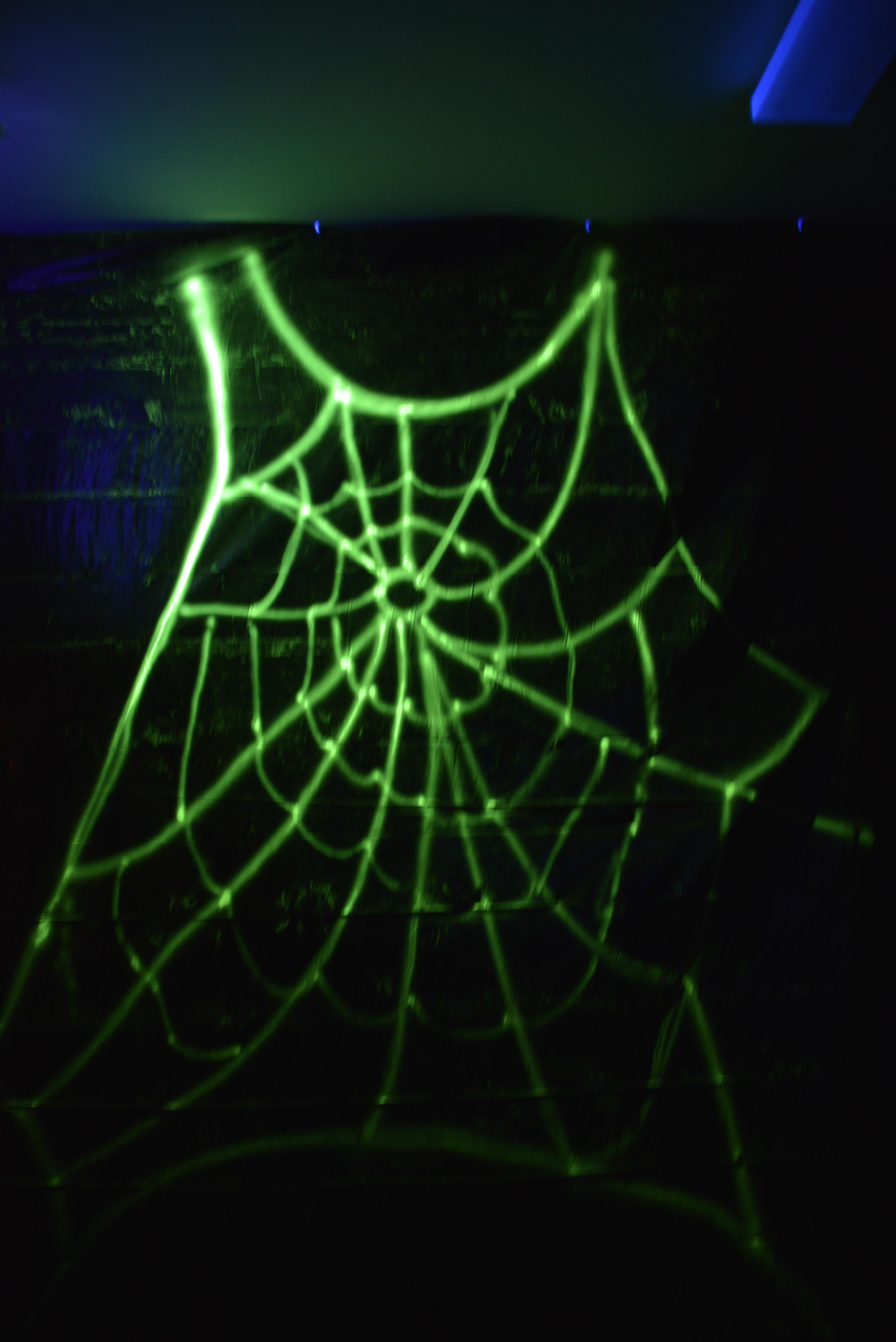 used walmart glow in the dark spray paint to make a giant spiderweb on black tarp and then lit by a black light a spooky entrance to any party or trick