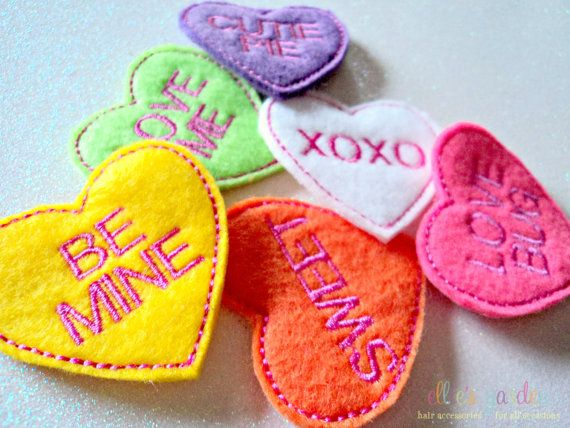 Valentine's Day Conversation Heart Felt Clip You by elliesgarden, $4.99  Would be cute photo props