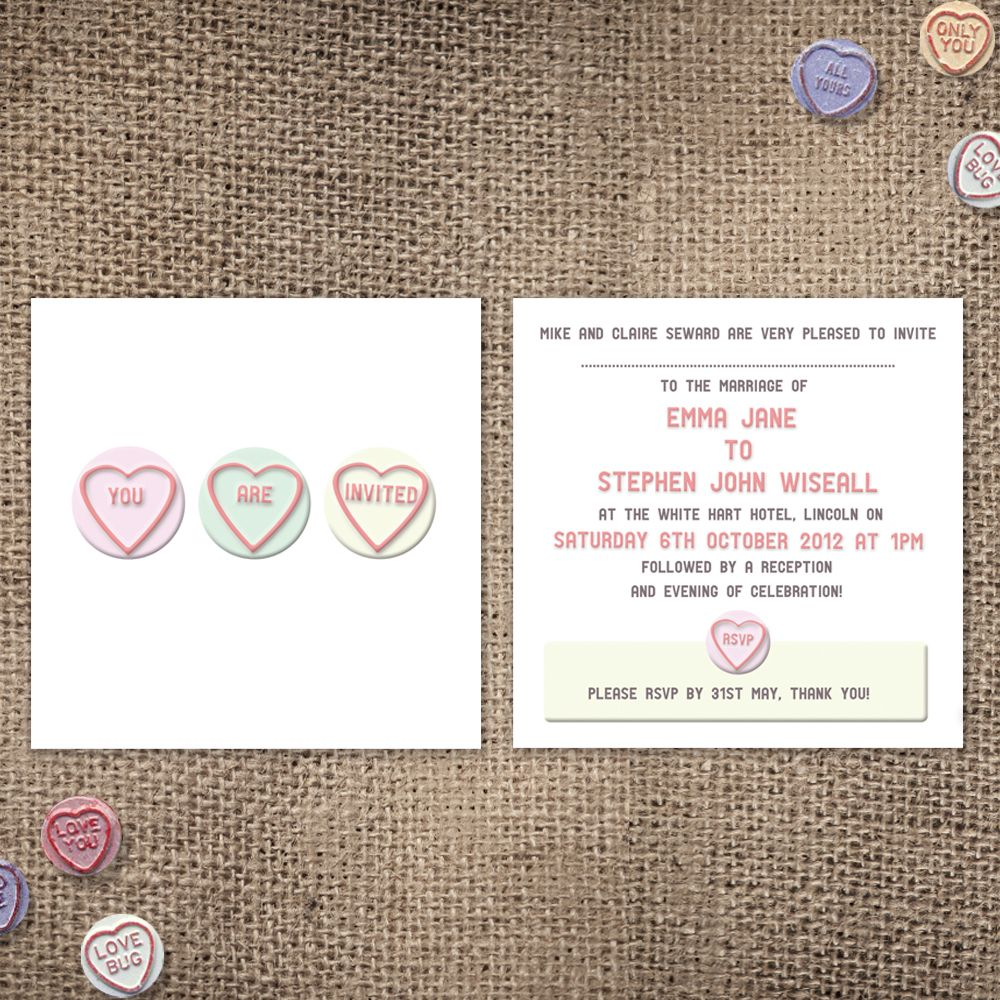 Love Heart Wedding Invitation - Love Heart Sweets Invite | Wedding ...