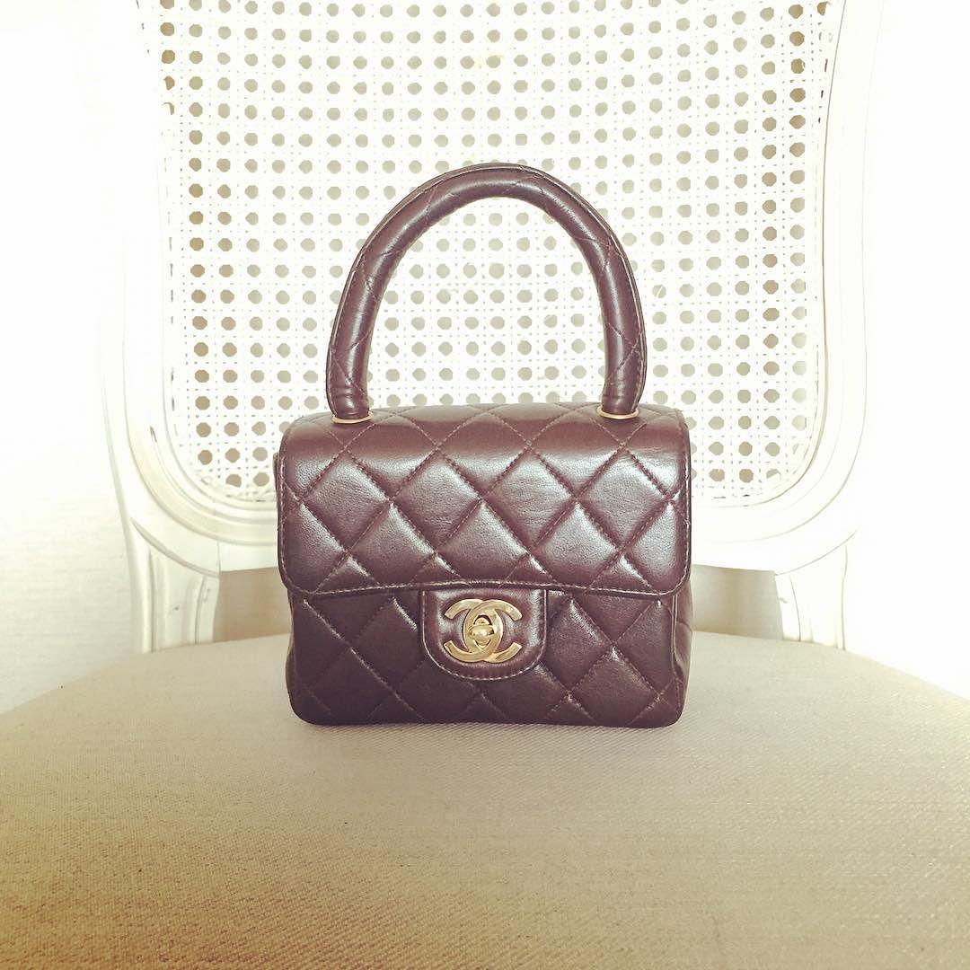 Vintage Chanel Mini Kelly Handbag In Dark Brown Lambskin Gold Hardware Good Condition Size 14x11x6 Cms 41500 Baht Chanel Mini Vintage Chanel Lambskin