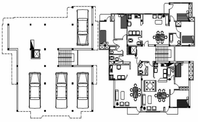 Autocad drawing of the residential apartment Residential