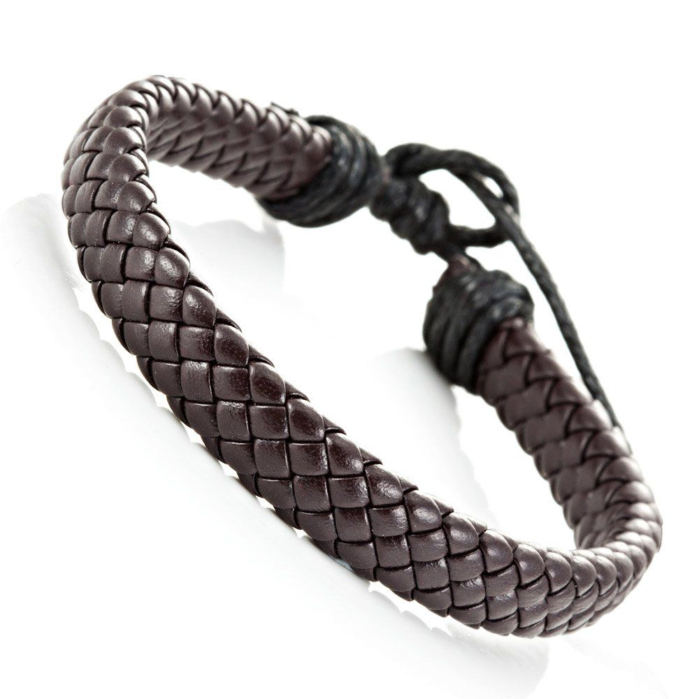 Trendy braided brown pu leather bracelet cuff bangle for men and