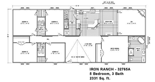 Floor Plan Ir 32765a Iron Ranch Multi Section Cavco Homes Of Texas Manufactured Home Floor P Floor Plans Manufactured Homes Floor Plans House Floor Plans