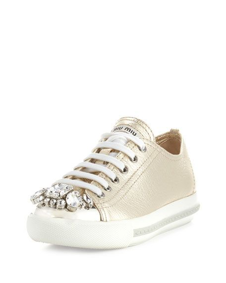 Miu Miu Embellished Lace-Up Sneakers free shipping big discount discount real free shipping sale clearance 2014 unisex hampRxq