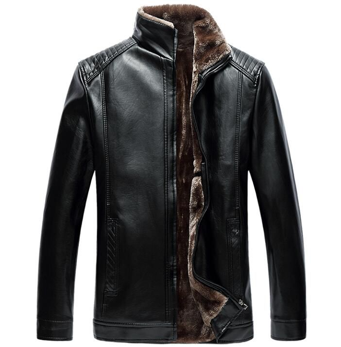 c82acebd491 Winter plus velvet thicken thermal stand collar leather jacket men business  casual straight mens coats jaqueta
