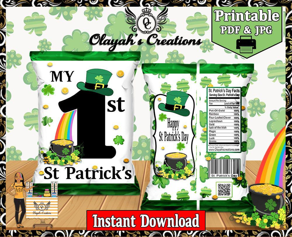 My first st patricks day chip bag instant download chip