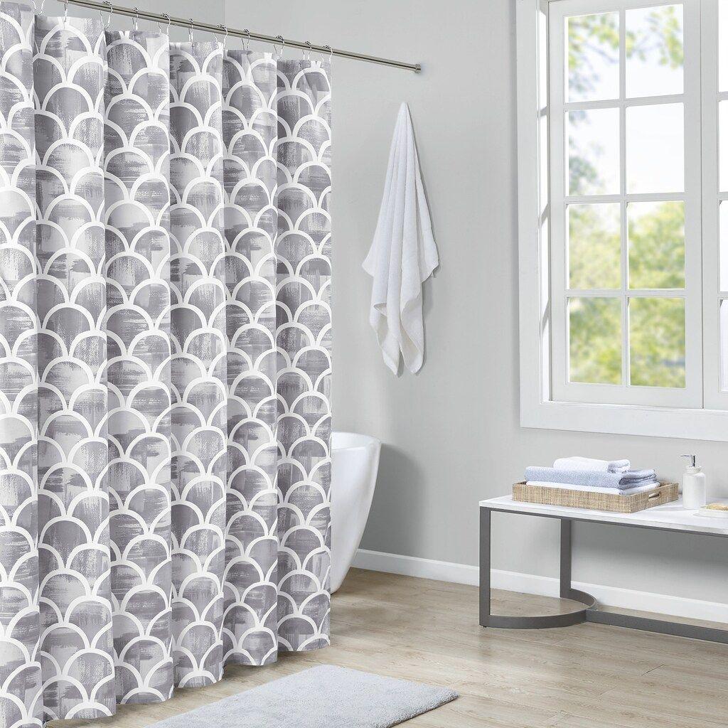 Madison Park Essentials Finn Printed Shower Curtain Grey 72x72