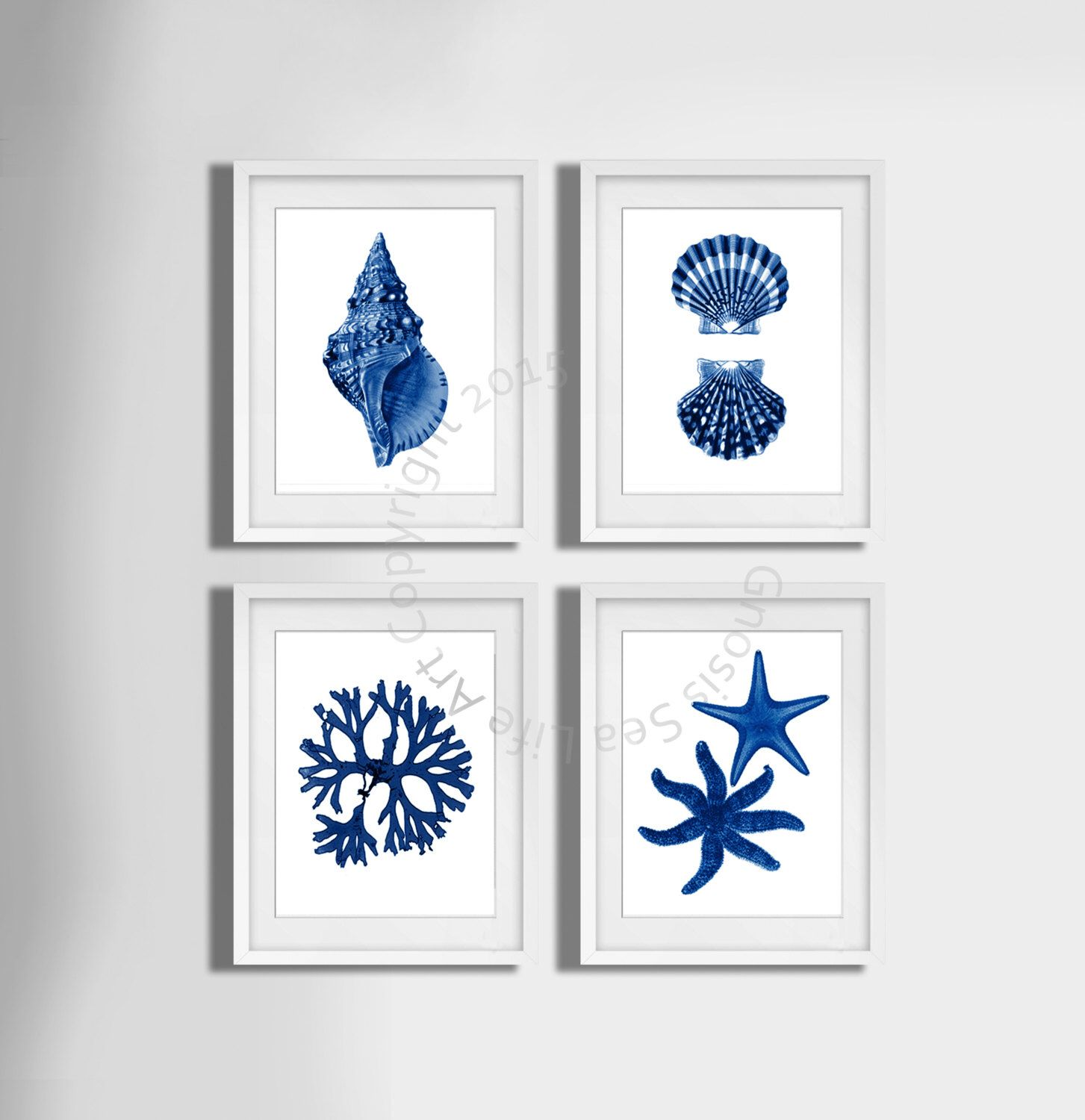 navy blue wall art set of 4 beach decor, seashells, seaweed and
