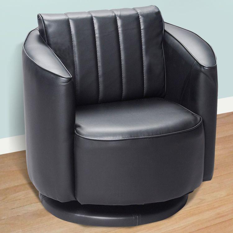 Black upholstered swivel chair by kids korner