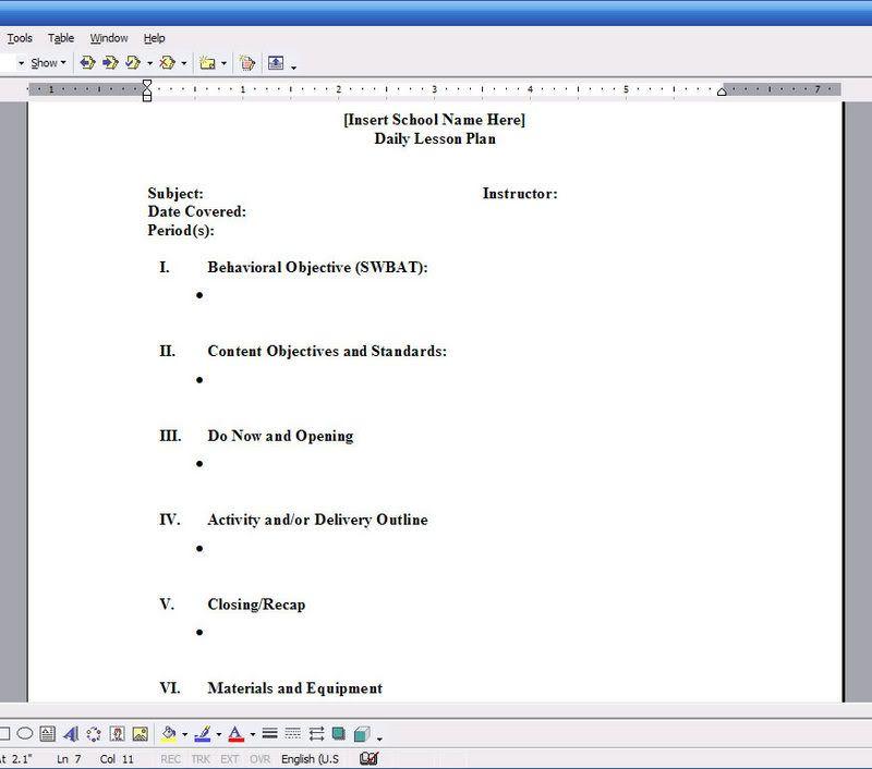 Printable Blank Lesson Plans Form Blank, Electronic Lesson Plan - resume lesson plan