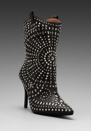Embellished Ankle boot in Black/Silver - Jeffrey Campbell
