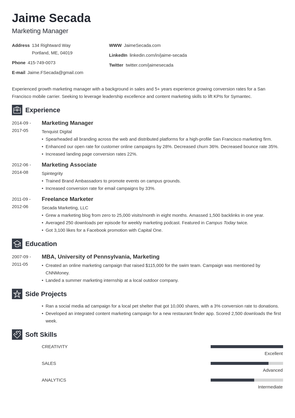 marketing resume template newcast in 2020 Marketing