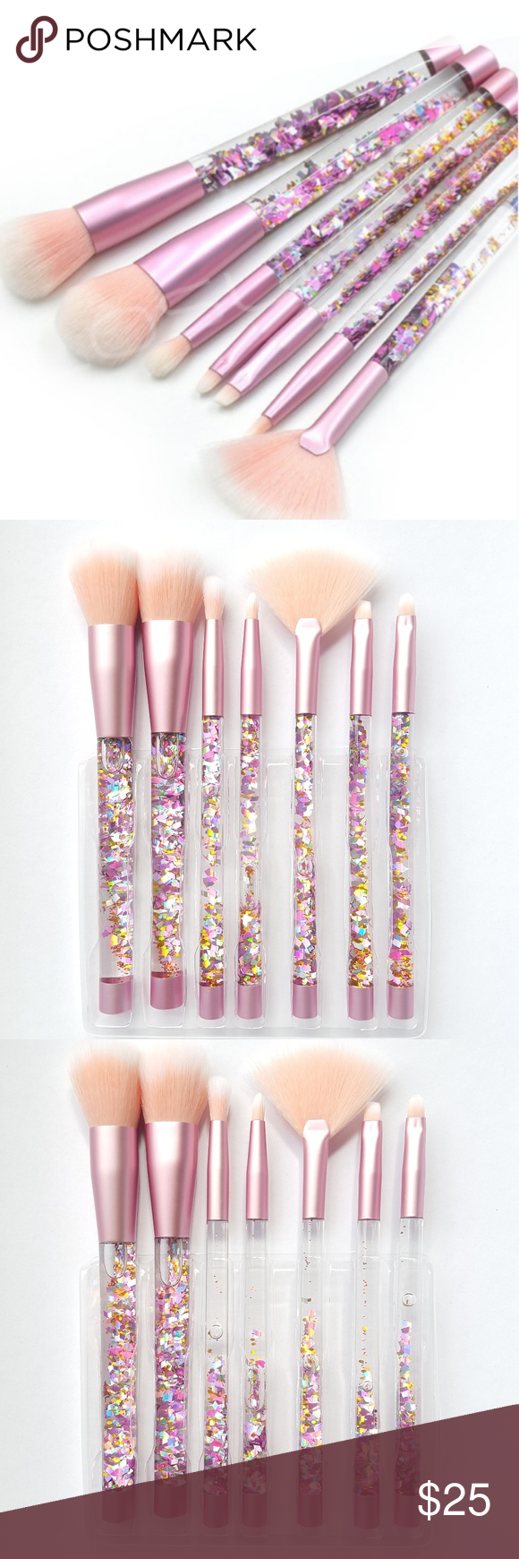 Pink Glitter Tube Makeup Brush (Set of Seven) Makeup