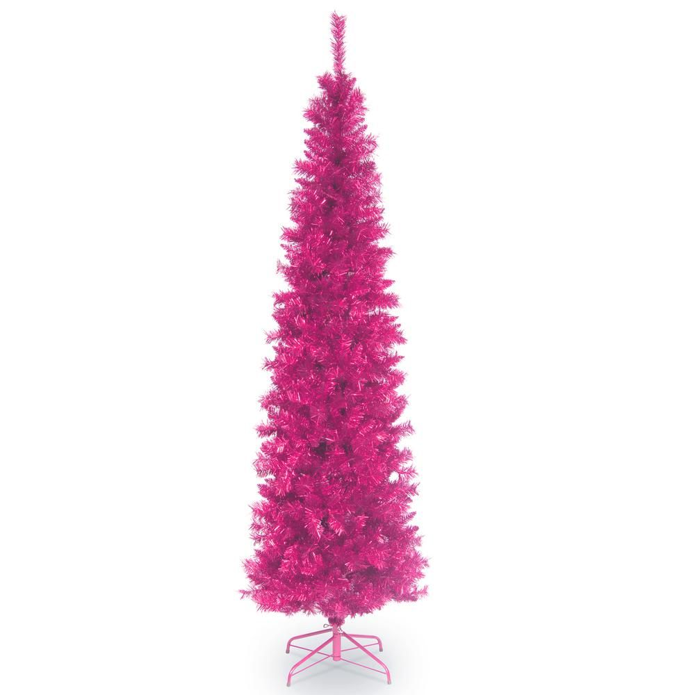 National Tree Company 7 Ft Pink Tinsel Artificial Christmas Tree