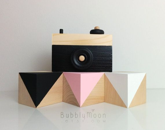 Nursery Decor- Toy Camera- Black & Pink Nursery Decor- Camera Sculpture- Baby Blocks- White Nursery Decor- Baby Pink Nursery Decor Set