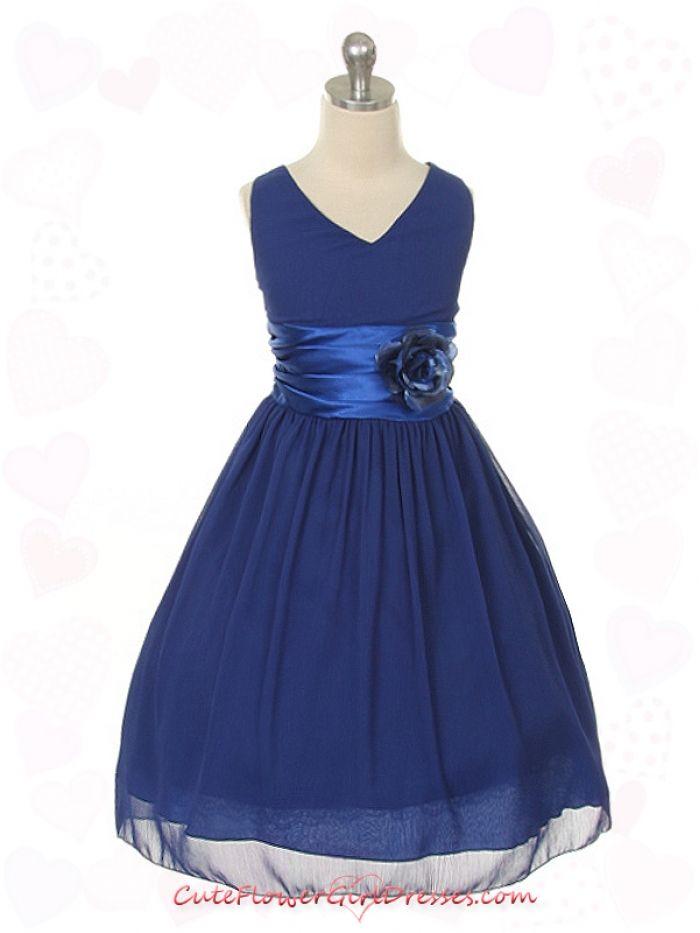 Royal Blue Flower Girl Dresses  Royal Blue Yoru Chiffon Flower ...