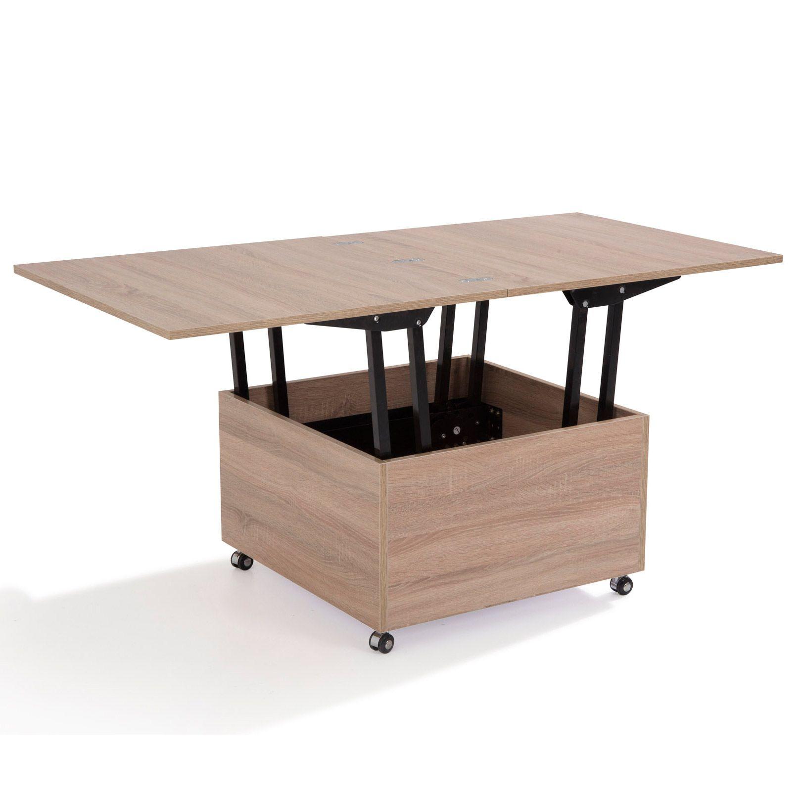 table basse carr e en bois avec plateaux relevables l75 cm. Black Bedroom Furniture Sets. Home Design Ideas