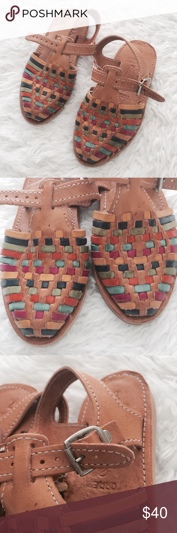 e4b8fa4fe83839 NWOT Kids Genuine Leather Mexican Huaraches Baby Toddler girls. Authentic
