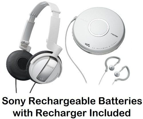 Sony Walkman Portable Skip-Free CD Player & AM FM Radio with Earbud Headphones, 30 Preset Stations, Digital Mega Bass Sound & AVLS + Sony Lightweight Noise Canceling Studio Monitor Headphones with 30mm Swivel Earcups & Over The Head Open-Air Dynamic Closed Dome Design - White + Sony Rechargeable Batteries with Recharger by Sony. $96.95. All in One CD PlayerDigital AM/FM Tuner Allows you to listen to your favorite radio stations. 30 Station Preset 20FM & 10AMSkip-Free G-Protectio...