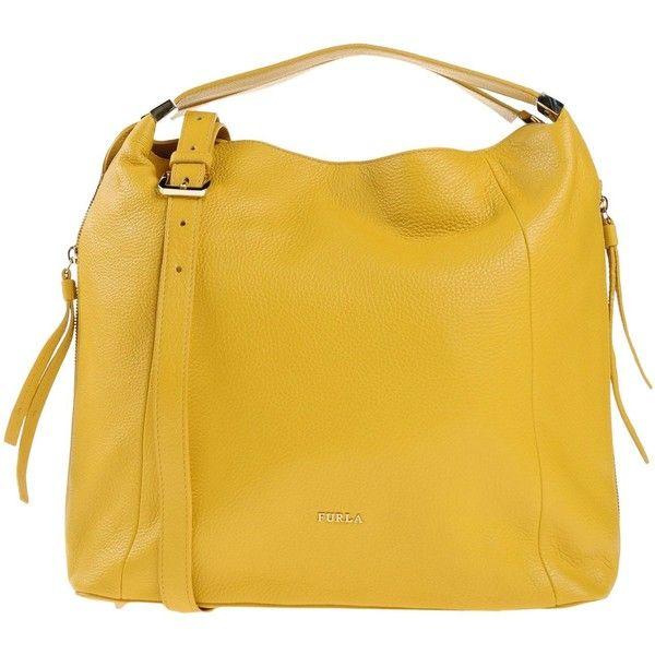 Furla Handbag ($320) ❤ liked on Polyvore featuring bags, handbags, ochre, leather handbags, yellow purse, yellow leather purse, genuine leather purse and genuine leather handbags