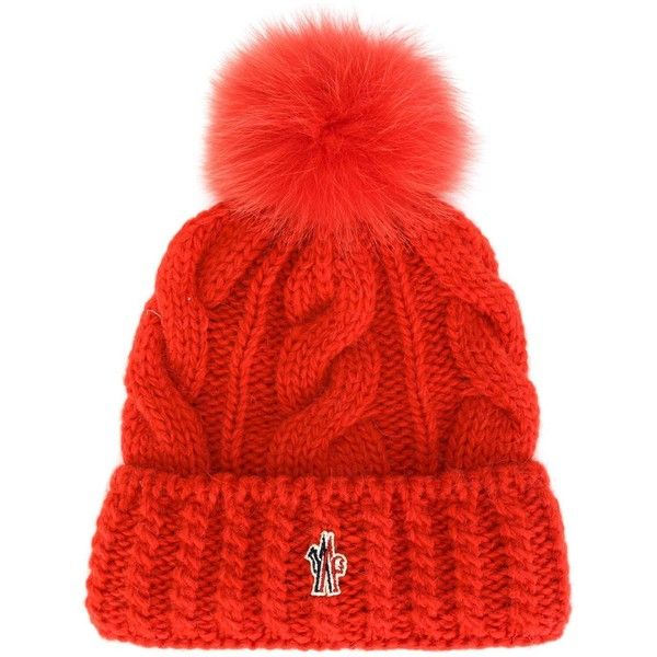 10f3df3f38235 Moncler Grenoble cable knit pompom beanie ( 240) ❤ liked on Polyvore  featuring accessories