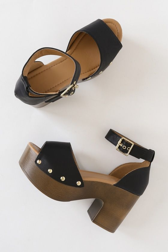 Karsen Black Burnish Wooden Platform Sandals 2