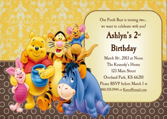Winnie The Pooh Birthday Invitation Girl Or Boy By Kraftykansas 10 00 Birthday Invitations Kids Winnie The Pooh Birthday Pooh Invitation