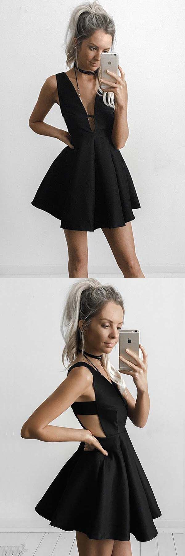 Aline deep vneck short cut out black satin homecoming dress pd