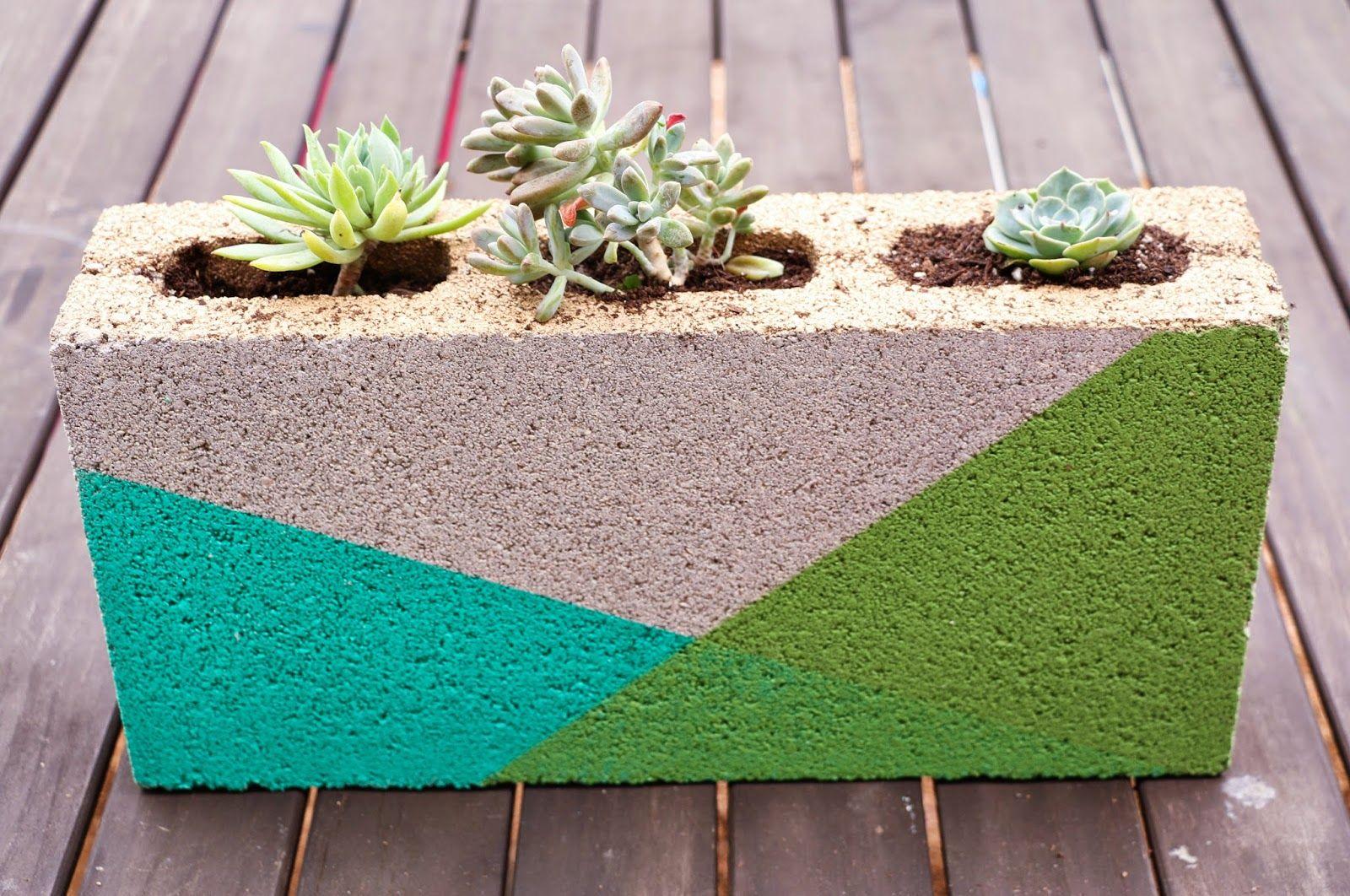Colorblocked Cinder Block Planter A Kailo Chic Life Cinder Block Garden Diy Planters Succulent Planter Diy