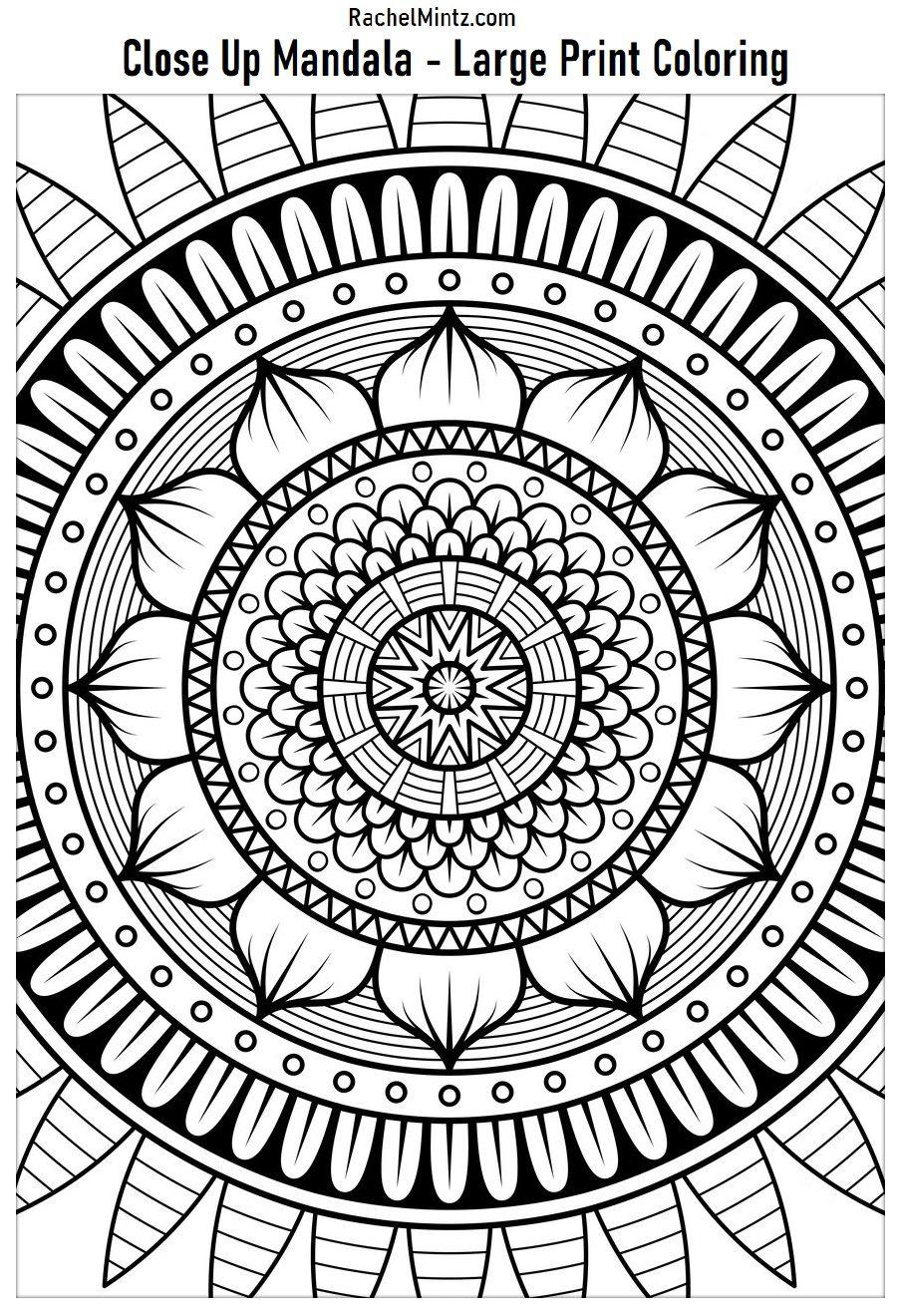 Easy Large Print Mandala Designs Coloring Books Mandala Coloring Books Coloring Books