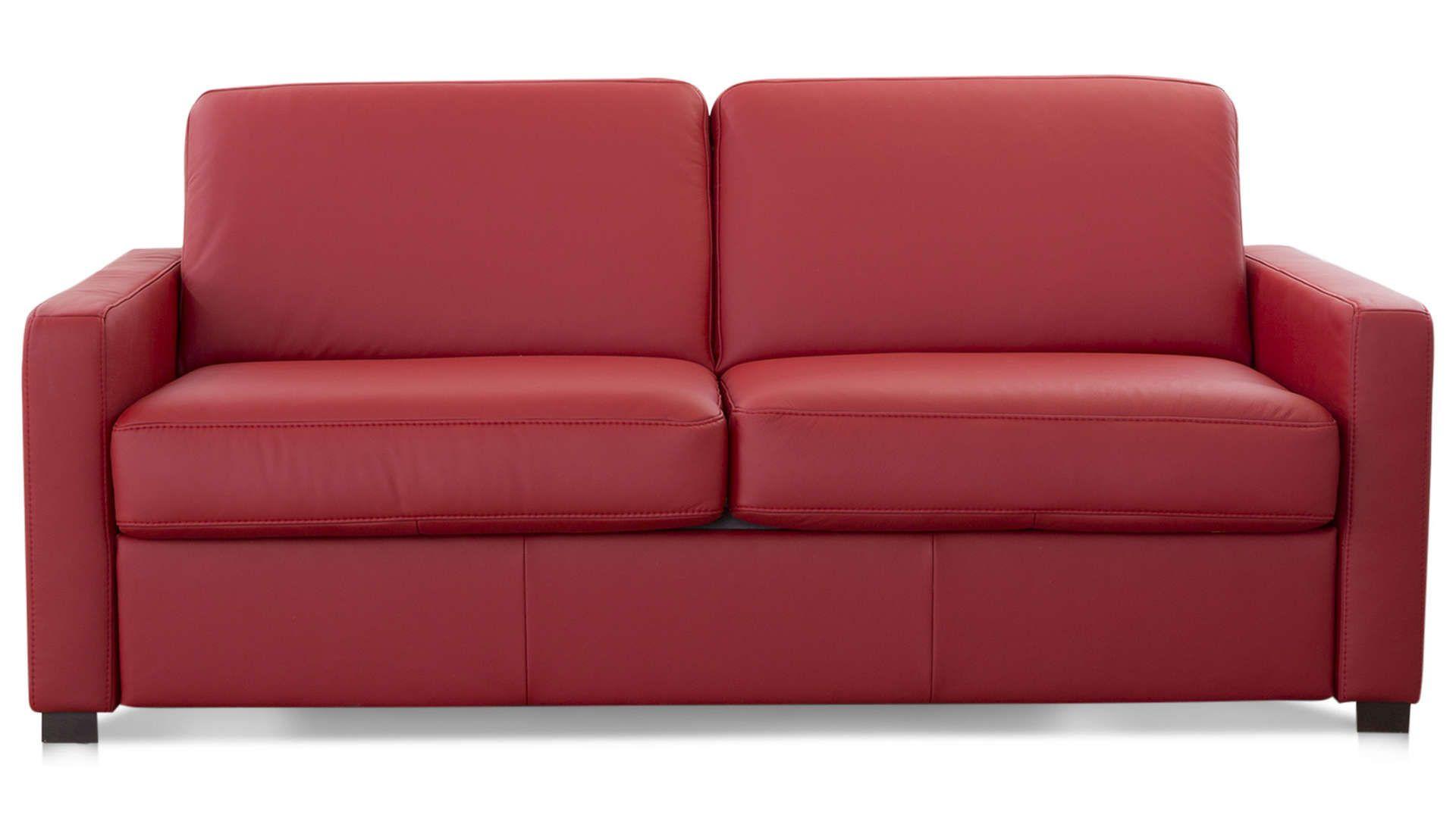 Canape Droit Convertible 2 5 Places En Cuir Comfort Bultex Divalit Coloris Rouge Canape Droit Convertible 2 Places Canape