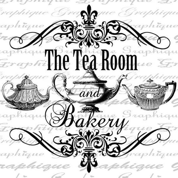 The Tea Room and Bakery Text Teapot Tea Teapots Digital Image Download Transfer To Pillows Tote Tea Towels Burlap No 2264bakery