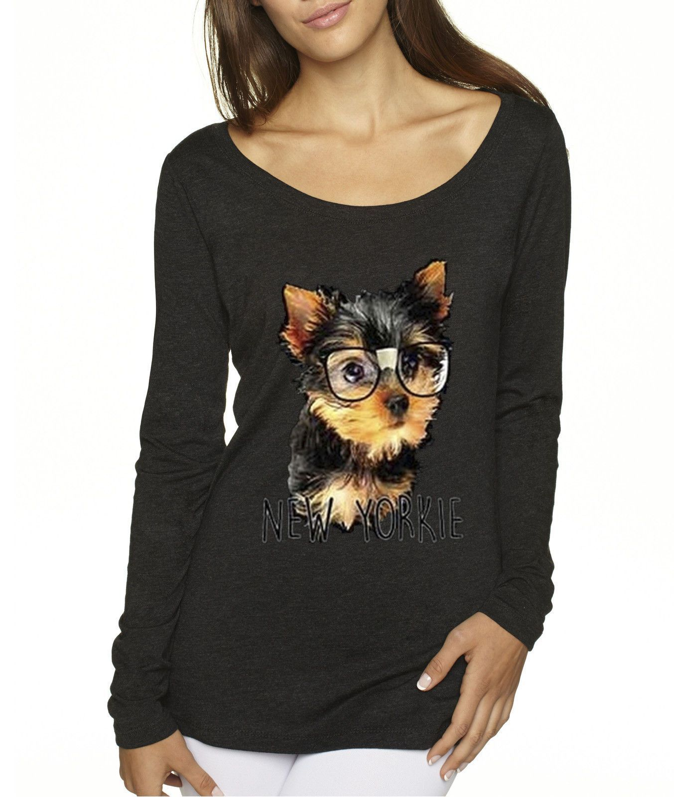 Way 381 - Women S Long-Sleeve York Yorkie Puppy Dog Glasses Funny Humor   funnyyorkpuppy a21a786951