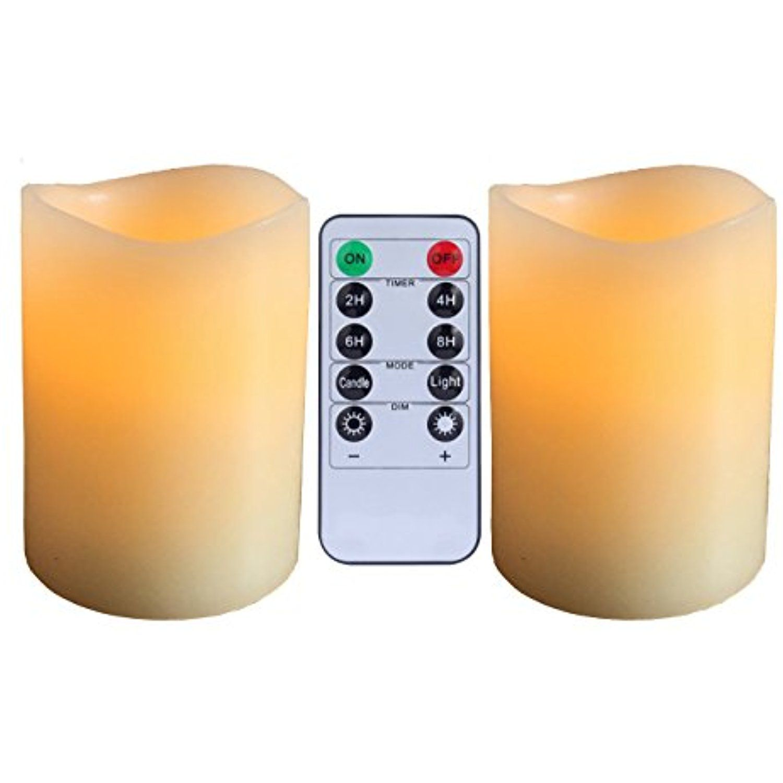 Flameless pillar candles aimetech real wax battery operated