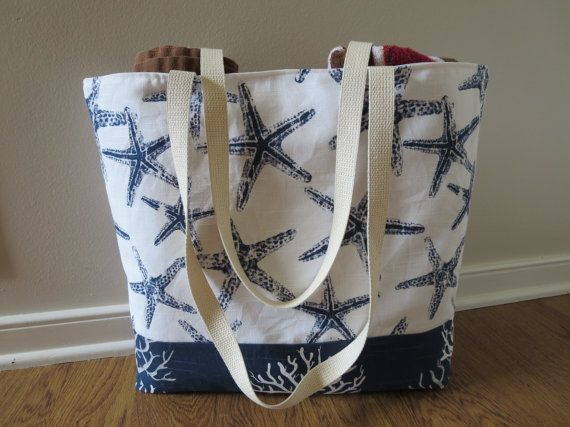 Handmade Sea Shells Coral Star Fish  Tote Bag Purse