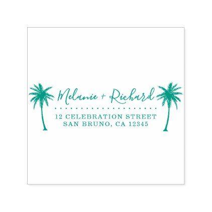 Elegant Script  Palm Trees Wedding Return Address Self-inking Stamp