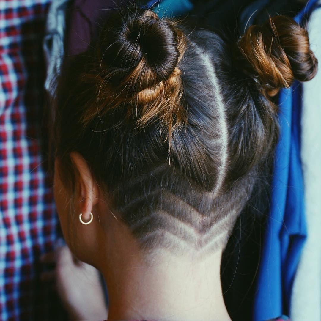 grunge hair, buns, undercut, girls undercut, shaved head